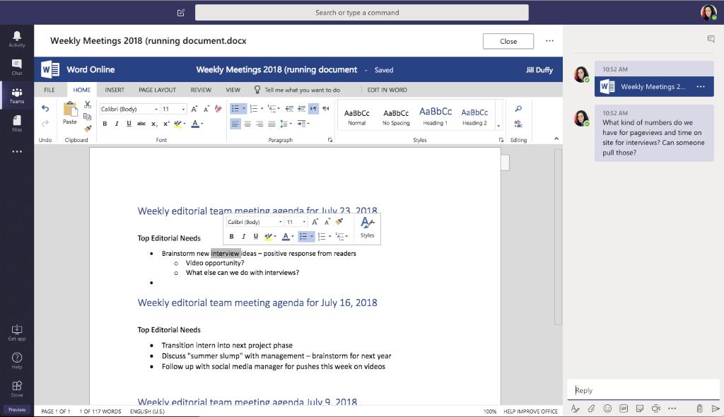 Microsoft Teams Coauthor Documents