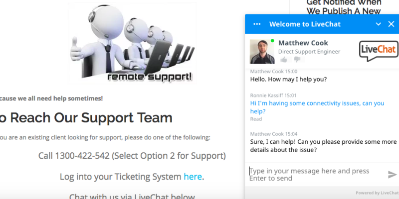 LiveChat Support Now Available to Calibre One Customers